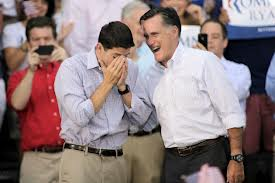 Ryan breaks down, head in hands, Romney has arm around Ryan, consoling him