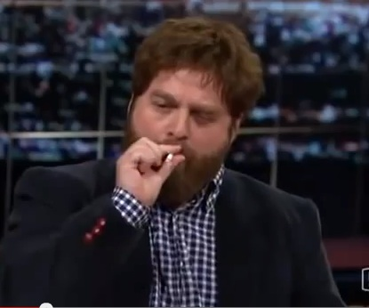 Zach Galifianakis smoking joint on Bill Mahar's Real Time